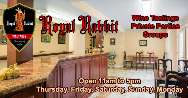Royal Rabbit Vineyards Wine Tasting Room, Groups and Private Parties