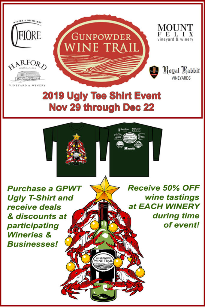 2019 Gunpowder Wine Trail Ugly T-Shirt Event Nov 29 thru Dec 22, 2019